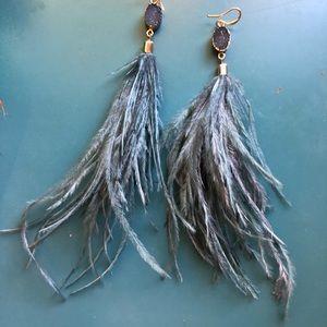 Anthropologie Jewelry - Feather Gem Earrings